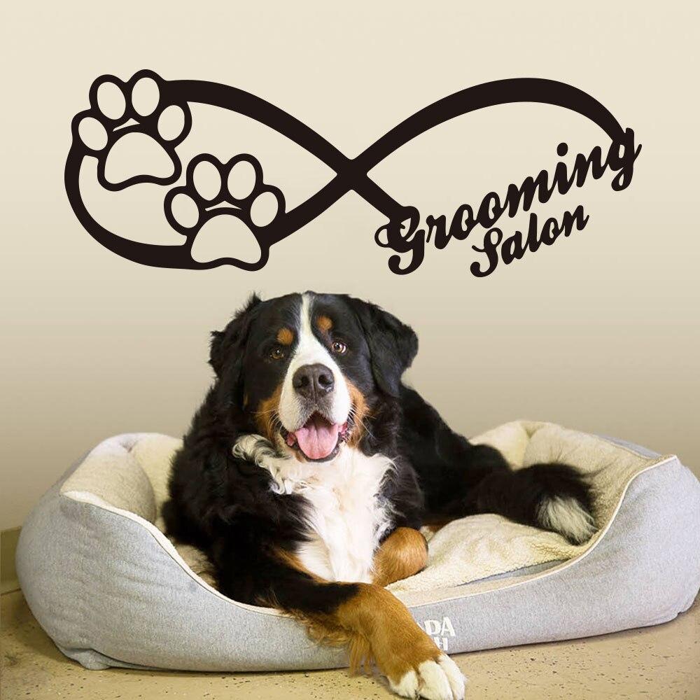 Infinity Sign Dog Wall Window Decals  Animals Pet shop Grooming Salon Dog Print Wall Window Glass Sticker Vinyl Art Decor (1)