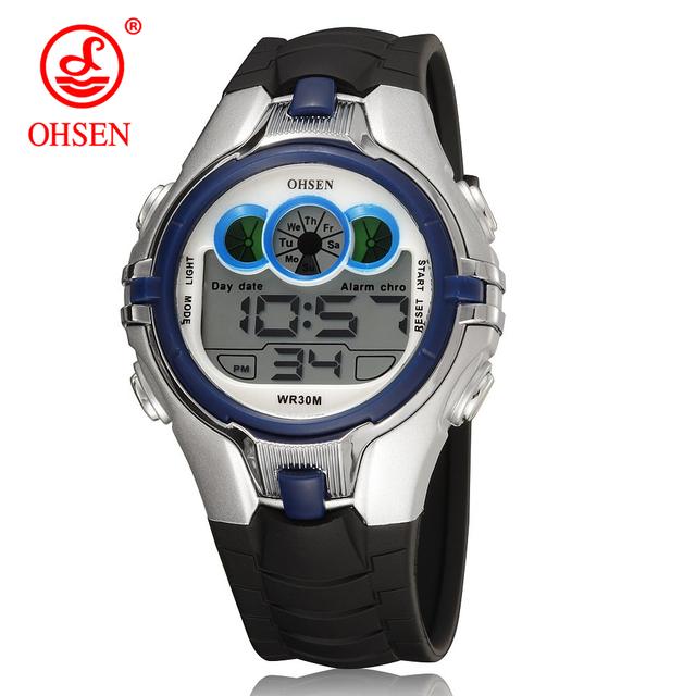 OHSEN Boys Kids Children Quartz Sport Watch Alarm Date Chronograph Watches LED Back Light Waterproof Wristwatch Student Clock