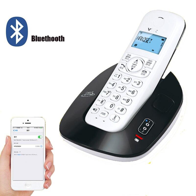 2.4 ghz dect6.0 bluetheoth telefone sem fio do escritório em casa sem fio bluetooth telefone fixo com um dois telefones