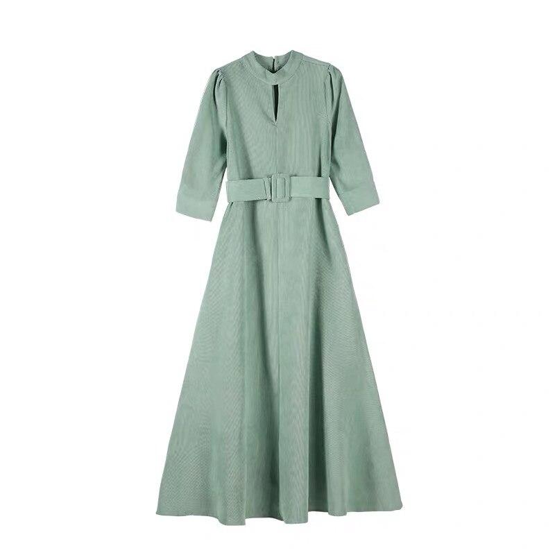 YOSIMI 2018 de mujer largo Vestido de pana Otoño Invierno Maxi Vestido para las mujeres Vintage de manga completa tobillo longitud mujer Vestido verde - 4