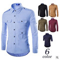 New 2016 Spring And Autumn Male Military Multi-pocket  Long-sleeve  Shirt  Slim  Shirt  Casual Male Shirt