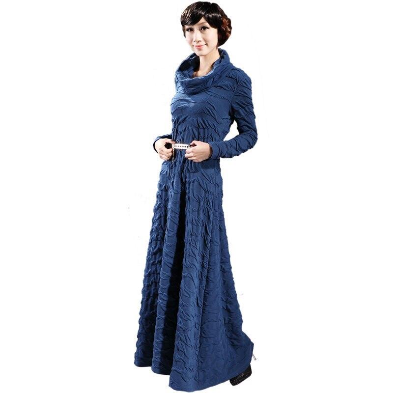 شحن مجاني 2018 جودة عالية S 3XL جديد الأزياء مطوي فستان طويل للنساء الياقة المدورة طويلة الأكمام بلون حزب اللباس-في فساتين من ملابس نسائية على  مجموعة 1