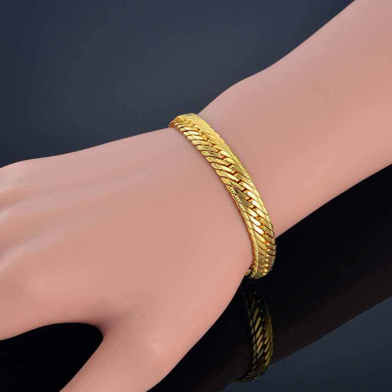 Gold Bracelet Men Jewelry Gold Color 8mm Snake Link Chain Bracelet 21/22cm Male Hand Chain Wholesale Pulseras Braslet for Men