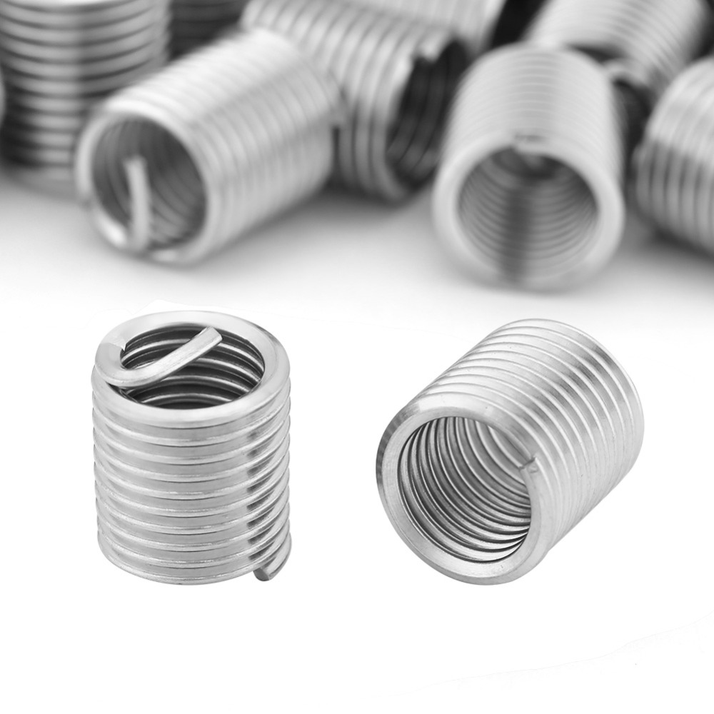 100pcs/Lot Threaded Insert Stainless Steel Coiled Wire Helical Nut ...