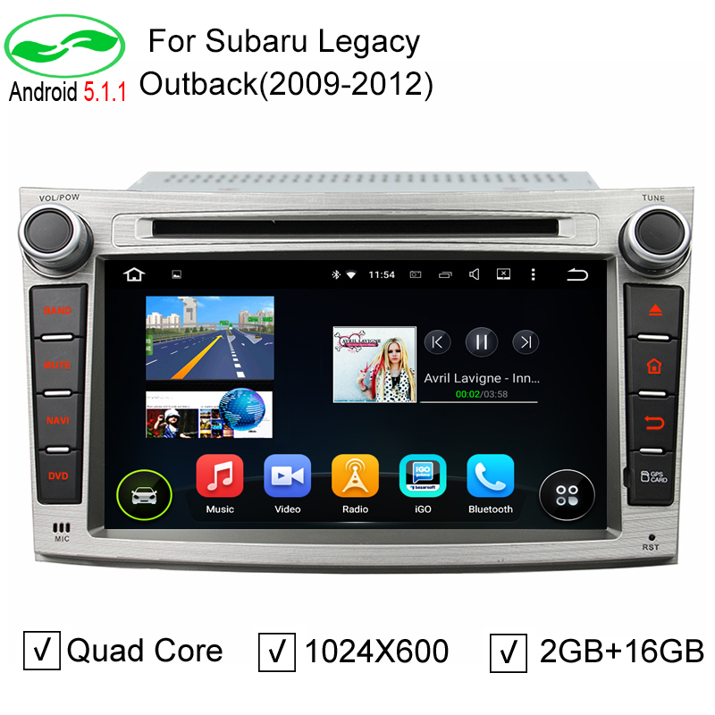 ROM 16GB Android 5.1.1 Stereo Radio Unit Android 5.1 Car DVD GPS For Subaru Outback Legacy 2009 2010 2011 2012