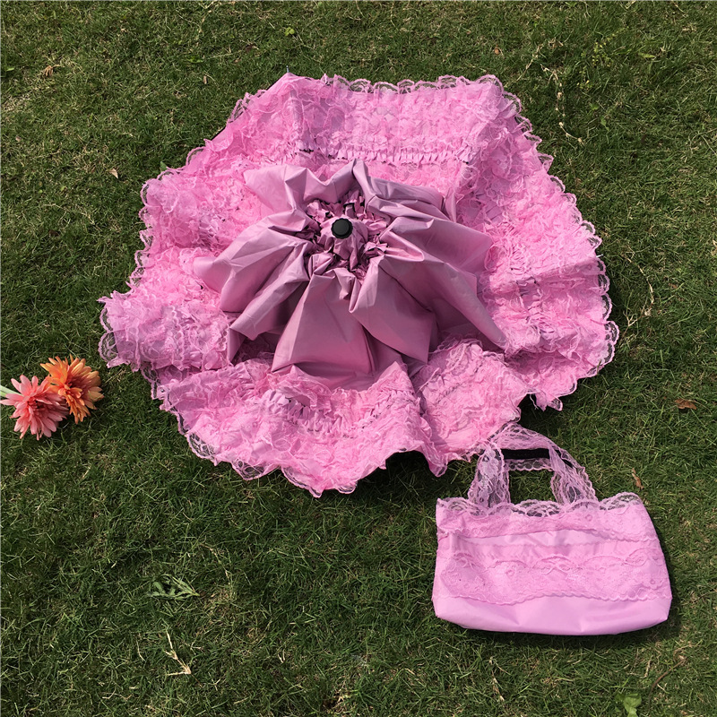 wedding Lace Ultraviolet-proof Folding Umbrella Outdoor Sunny Day Umbrella Princess Wedding Shooting Props
