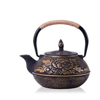 Железный чайник, чайник без покрытия, японский чугунный горшок, Южная свинья, пион, старый горящий чай, вода