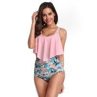 JOFEANAY Brand 2019 new sexy print high waist bikini ruffled swimsuit female suspender shirt suit bikini Girl harness