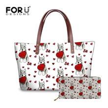 FORUDESIGNS/Сердце Шнауцер печати для женщин сумка для дамы повседневное дизайн ручной сумки кожаный кошелек Carteras Mujer