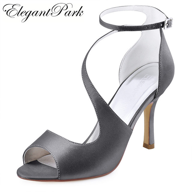 a637c4186519 Women Sandals Ankle Strap Wedding Bridal Shoes High Heel Steel Grey Black  Satin Bridesmaid Lady Evening Party Dress Pumps HP1565