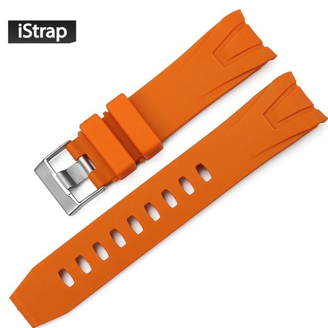 d27db9a69ef Istrap 22mm pulseira de borracha relógio extremidade curva substituição  assista bracelete banda para omega seamaster planet