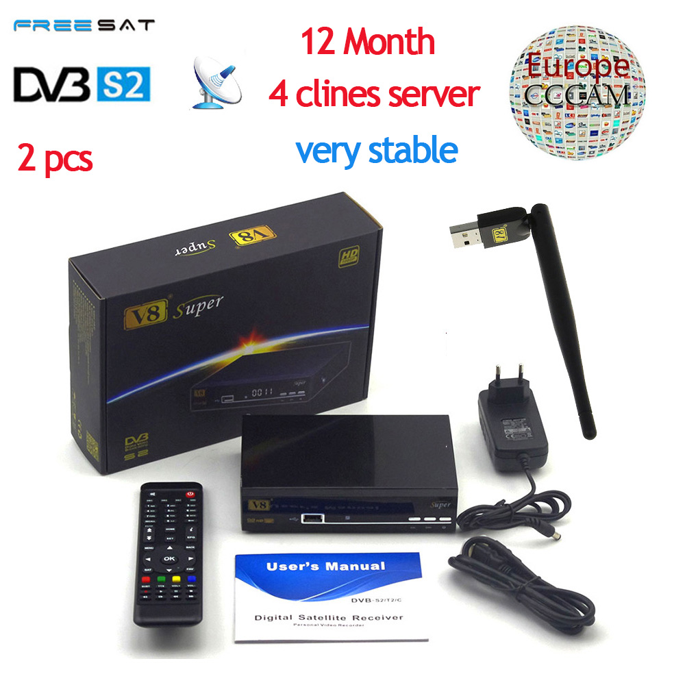 V8 Super DVB-S2 Full 1080P HD FTA Satellite Receiver+USB WIFI Support Biss Key Newcam 3G IPTV Youporn+1 year Europe CCCam Server wholesale freesat v7 hd dvb s2 receptor satellite decoder v8 usb wifi hd 1080p support biss key powervu satellite receiver