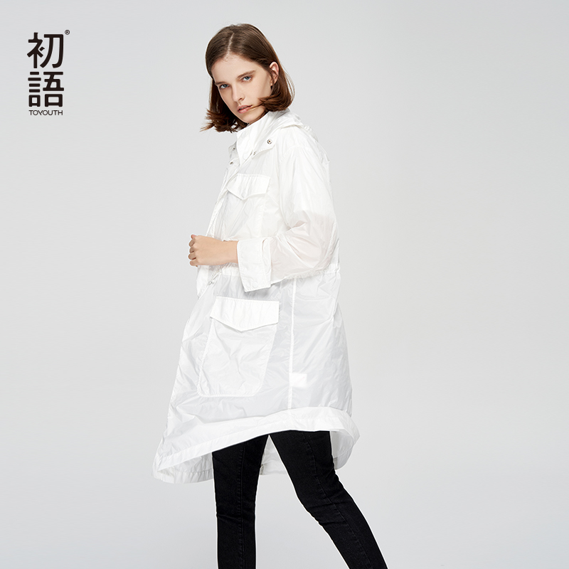 Toyouth Autumn White Long Pocket   Trench   Coat Printing Hooded Slim Female Coat Long Sleeve Outwear Abrigos Mujer Overcoat Tops