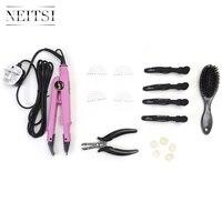 Neitsi Extensions de Cheveux Connecteur Rose Noir ROYAUME-UNI plug & Cheveux Fer Outils (Jetée, brosse, U Conseils, chaleur Bouclier Protecteur, cheveux Clips)