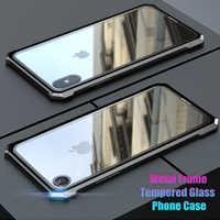 Di Alluminio di lusso Del Respingente Del Metallo di Caso Per il iphone X XS XR XS Max Super Clear Vetro Temperato Caso Hybrid Armatura Per iPhone 7 8 Più
