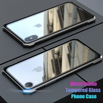 Luxo Metal de Alumínio Bumper Case Para iphone 5 X XS XR XS Max Super Clear Vidro Temperado Caso Armadura Híbrido Para iPhone 7 8 Plus