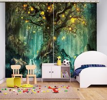 girls blackout curtains 3d curtains Fantasy forest Living room bedroom window curtain Window decoration sound proof curtain(China)