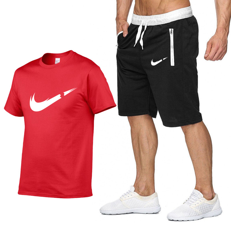 JYZJ Men Gym Workout 2 Pieces Outfits T-Shirt Shorts Sport Summer Casual Tracksuits