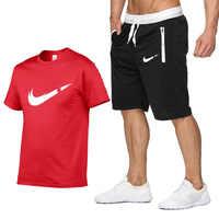 2019 nueva camiseta + Pantalones cortos conjuntos hombres carta impresa verano trajes Casual camiseta hombres chándales marca ropa Tops camisetas conjunto de hombre