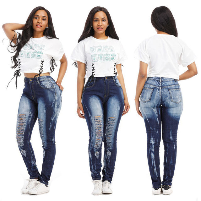 f22167ce424f9 Plus Size Women Clothing New Mix Juniors Womens Blue Denim Stretch Jeans  Skinny Ripped Distressed Pants S XXL-in Jeans from Women s Clothing on ...