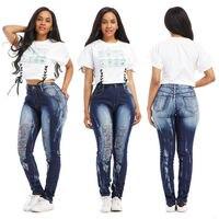 Plus Size Women Clothing New Mix Juniors Womens Blue Denim Stretch Jeans Skinny Ripped Distressed Pants S-XXL