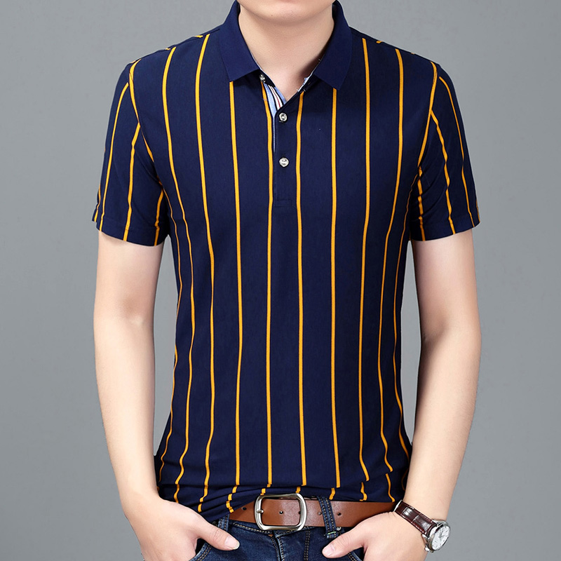 2019 New Fashion Brands   Polo   Shirt Men Summer Slim Fit Short Sleeve Striped Top Grade Poloshirt Stand Collar Casual Clothes