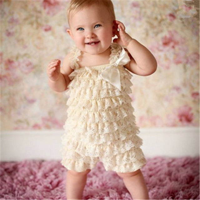 02c6bd5cc6c Baby Lace Rompers Infant Lace Romper with Straps Ribbon Bow Kids Jumpsuit  Baby Girls Lace Ruffled Petti Romper DS9