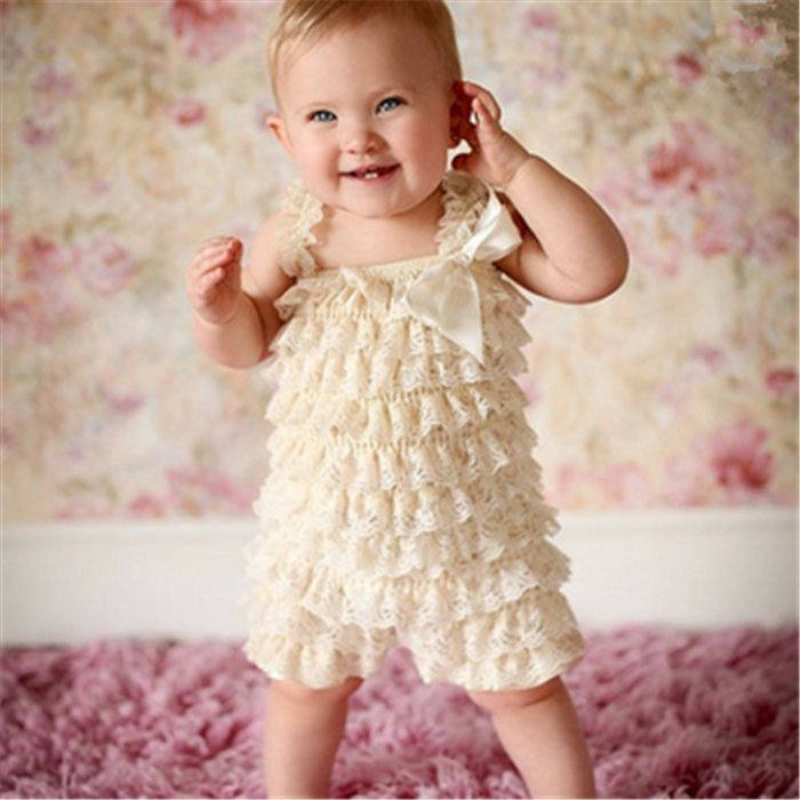 Baby Lace   Rompers   Infant Lace   Romper   with Straps Ribbon Bow Kids Jumpsuit Baby Girls Lace Ruffled Petti   Romper   DS9