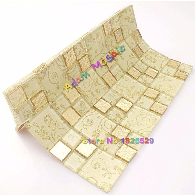 Gold Mosaic Tile Mirror Backsplash Yellow Tiles Bathroom Flower Mosaic  Floral Wall Tiles Glass Kitchen Subway