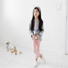 Korean Girls Pants Candy Color Leggings Kids Pencil Pants Children Kids Clothes High Waist Stretch Trousers Bottoming Pants