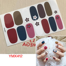 цена на Hot 14Tips Nail Art Full Cover Self Adhesive Stickers Polish Foils Heart Design Flower Wraps 3D Waterproof Nail Sticker Manicure