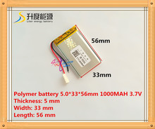 Free shipping Polymer battery 1000mah 3.7 V 503356 smart home MP3 speakers Li-ion battery for dvr,GPS,mp3,mp4,cell phone,speaker