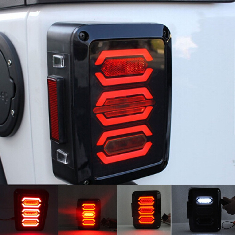Image 2 - HJYUENG LED 2007 2016 For Jeep Wrangler with Running Brake Backup Reverse Turning Signal Light Tail Lamp Assembly-in Car Light Assembly from Automobiles & Motorcycles