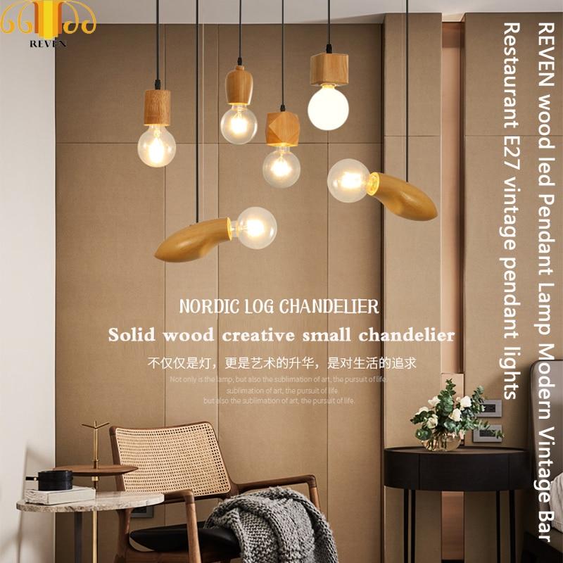 REVEN wood led Pendant Lamp Modern Vintage Bar Restaurant E27 vintage pendant lights