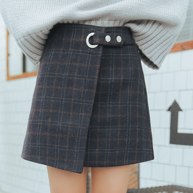 6d6a18b5df 2018 Kawaii Women Skirts Autumn And Winter Thickening Slim Hip Woolen Plaid  Skirt Vintage Japanese Harajuku High Waist Skirt-in Skirts from Women's  Clothing ...