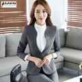 Autumn new women plus size Blazer with pants for work formal suits fashion office ladies slim long-sleeve black gray pant suit