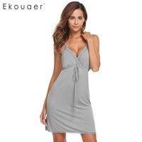 Ekouaer Summer Nightwear Women Sexy V Neck Lace Trim Drawstring Chemise Nightgown Full Slips Sleepwear Sleepshirt