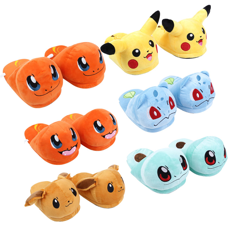 Pikachu Eevee Charmander Squirtle Bulbasaur Adult Plush Slippers Winter Indoor Slippers Plush Toys Soft Dolls edox les vauberts 63001 37rair