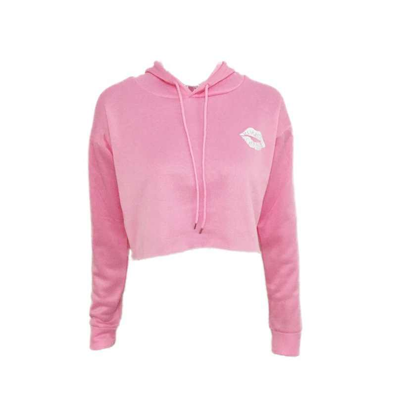 新ファッション秋若い付き作物トップス長袖クロップドパーカーピンク/グレー/黒プルオーバー女性スウェット