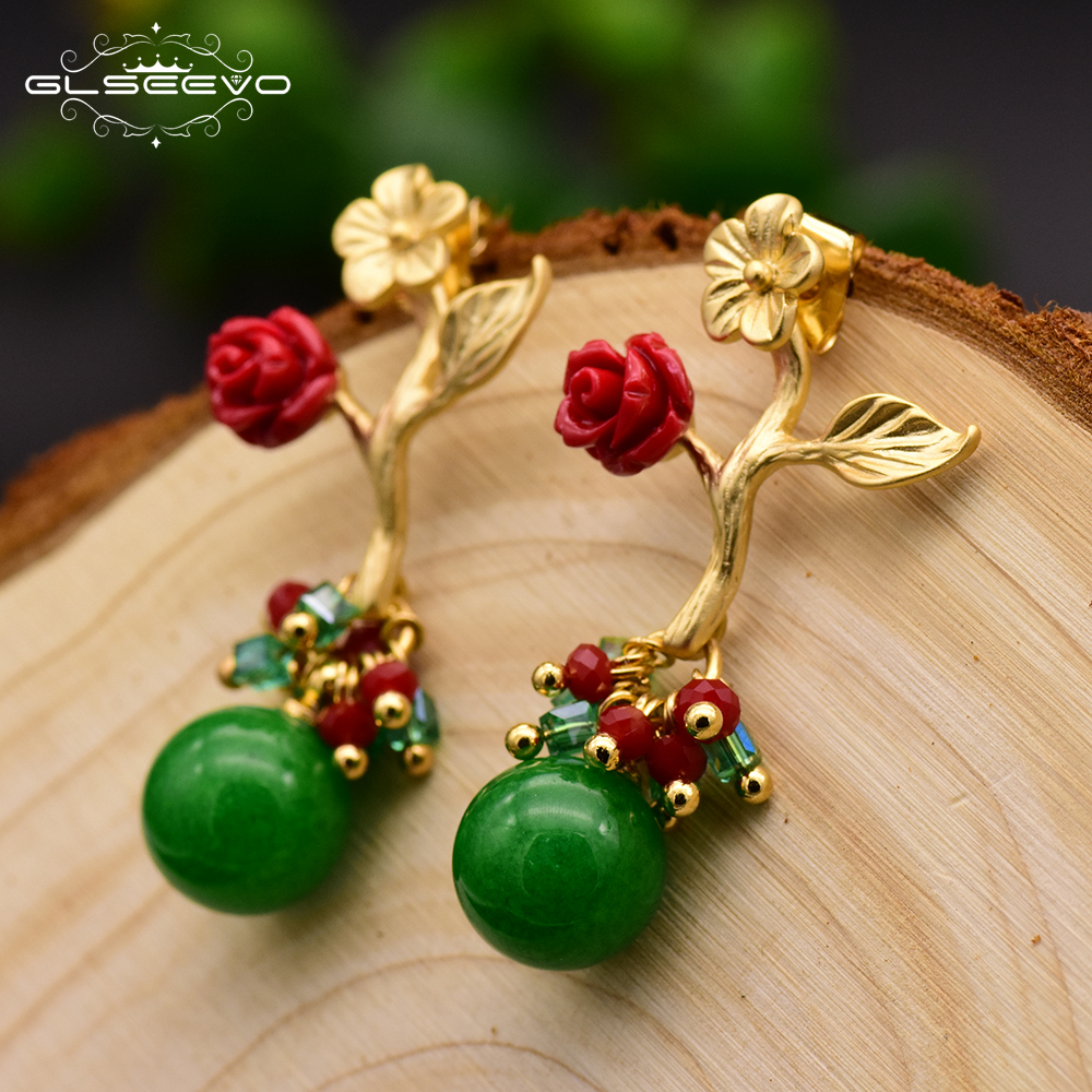 GLSEEVO Natural Aventurine Quartz Flower Leaf Drop Earrings Silver Piercing Women's Earrings Brinco Feminino Handmade GE0090C leaf decorated drop earrings