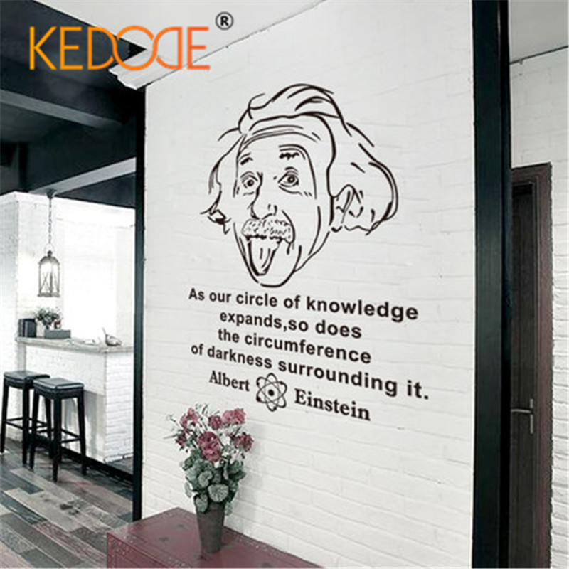 KEDODE Wall Stickers Creative Personality Office Bedroom Study Classroom wall Sticker English Inspirational Stickers Einstein