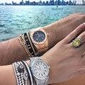 2016 Luxury Brands Men Bangles,Rose Gold Plated Pave Setting Black CZ & Fashion Open Cuff Bangle Bracelets Pulseiras Jewelry