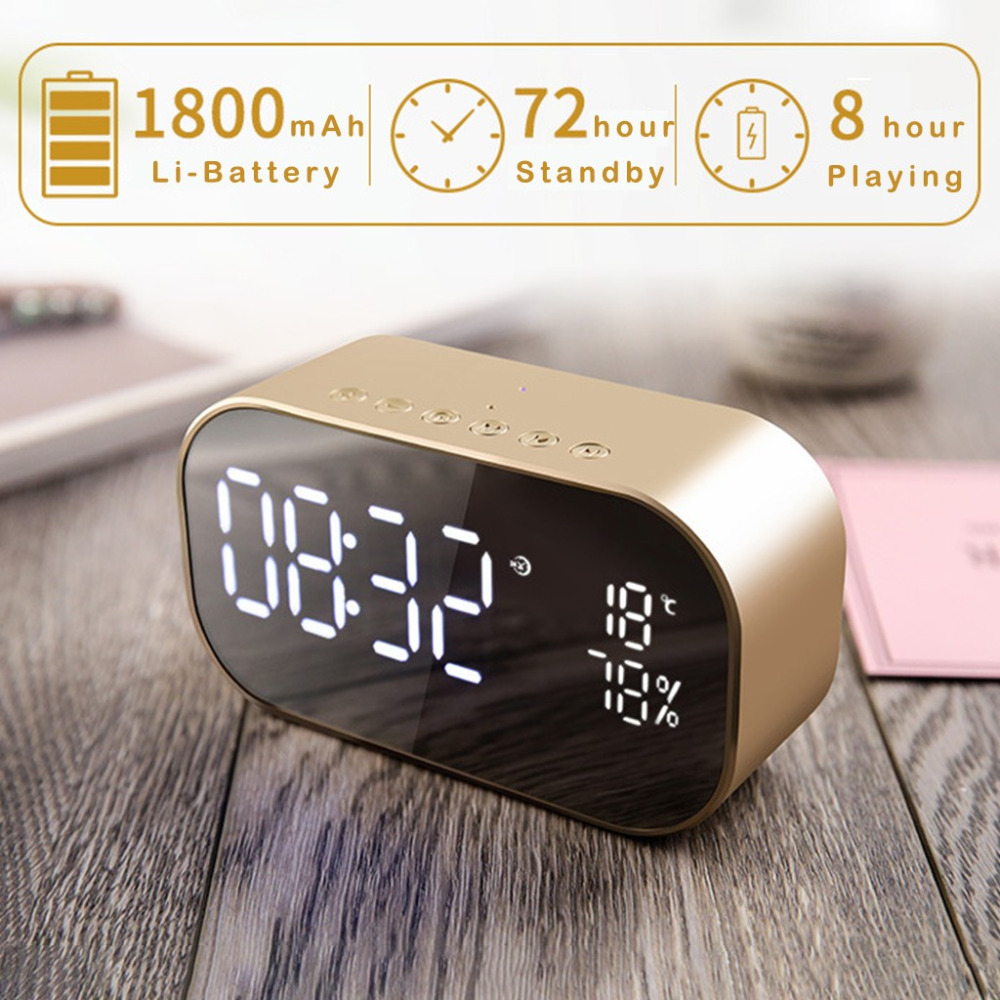 Stylish design Double Speaker Mirror Bluetooth+AUX+TF Card Speaker Support FM Clock for Computer, Home Theatre, Mobile Phone