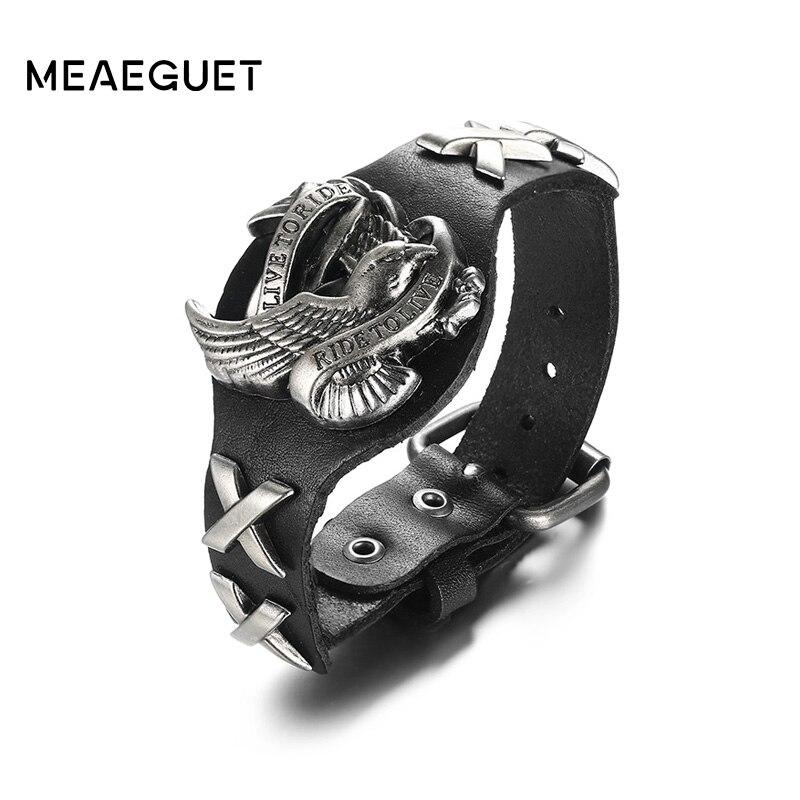 Meaeguet Haute Qualité En Cuir Véritable Charme Aigle Bracelets Pour Hommes VIVEZ POUR MONTER Bracelet Bracelet Bracelets Rock Bijoux