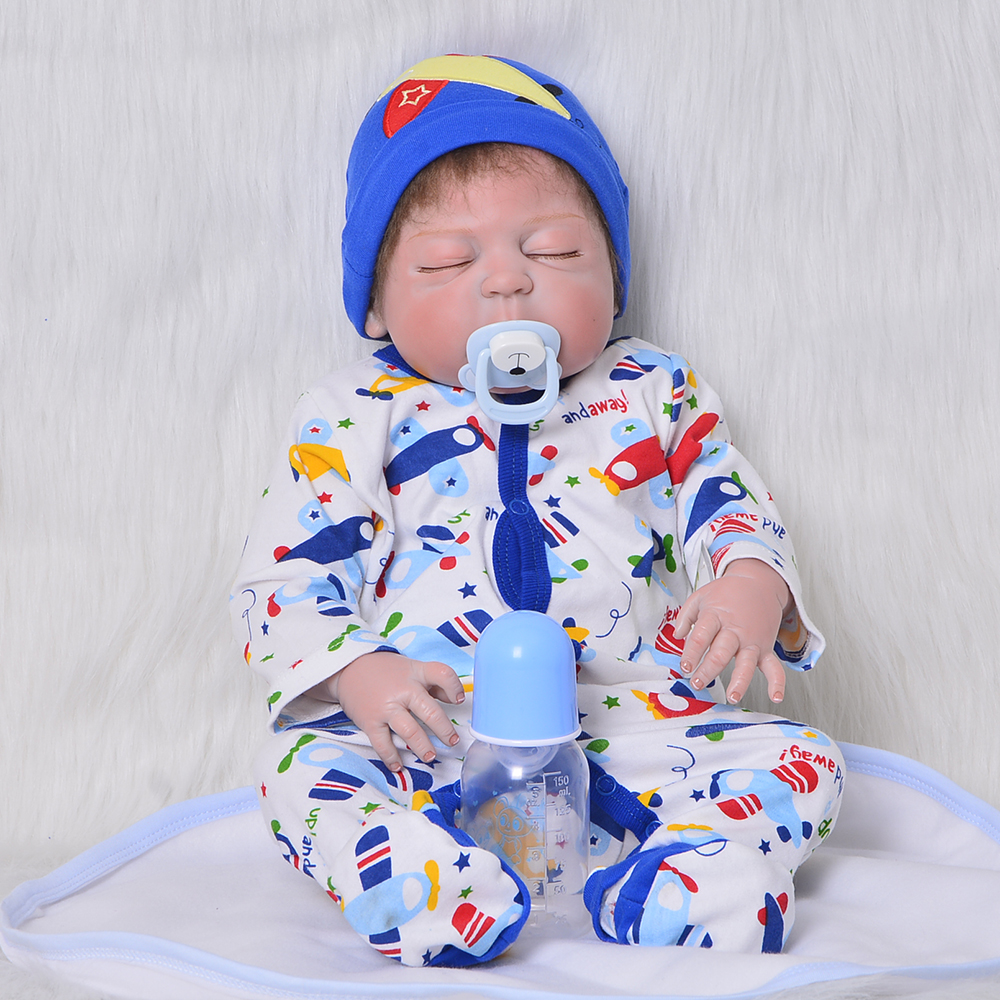 все цены на Real Looking Reborn Dolls Baby 23 Inch Full Silicone Vinyl Lifelike Newborn Doll Sleeping Boy Brinquedos Children Birthday Gifts онлайн