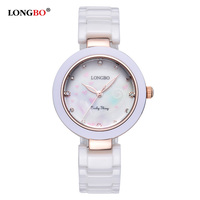LONGBO Brand Luxury Women Watch White Ceramic Watches New Fashion Ladies Quartz Watch Waterproof Girl Wrist