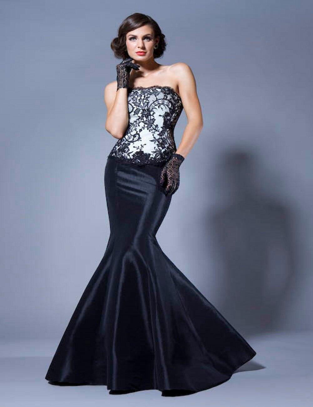 Black dress under white graduation gown - Vestido De Fiesta 2016 New Black Lace Mermaid Prom Dress Long Appliques Strapless Graduation Dresses Zipper Back Black And White