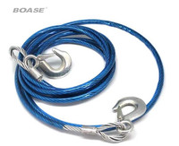 Blue 4M 5 Tons Emergency Towing Steel Wire Rope Tow Trailer Strap Cable With Metal Hooks