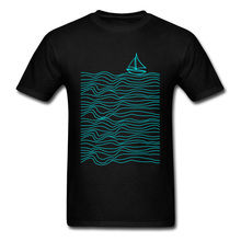 2018 Newest Sailor Boat Print Men T-shirt Sea Waves Simple Line Art Male Tops Short Sleeve Black T Shirts For Boyfriend