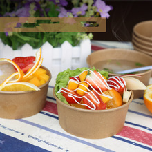 Eco Bowl Disposable Fruit with Lid Takeaway Food-Package Kraft-Paper Party-Supplies Round